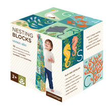 Load image into Gallery viewer, Petit Collage Ocean ABC Nesting Blocks