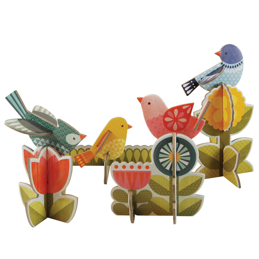 Petit Collage Pop-Out and Build Modern Birds Playset