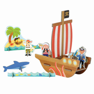 Petit Collage Pop-Out and Colour Pirates Playset