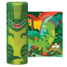 Load image into Gallery viewer, Petit Collage Dinosaur 64-piece Puzzle Tin & Coin Bank