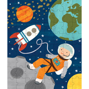 Petit Collage Into Space 64-piece Puzzle Tin & Coin Bank