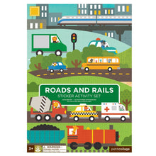Load image into Gallery viewer, Petit Collage Roads & Rails Sticker Activity Set