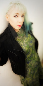 vintage dress leather jacket coloured hair vintagetattoogirl