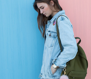 Gir in denim jacket