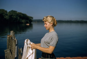 50s teen by lake