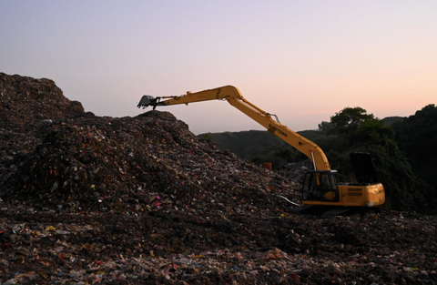 JCB on a landfill site