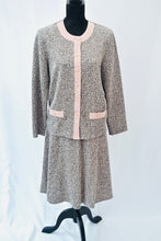 1990s Casual skirt and jacket set | Pink and grey ladies suit | Est UK size 18