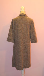 1970s St Michael's shirt dress large collar vintage dress in  brown
