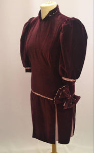 1920s/30s Rare velvet dress | Burgundy and pink dress |  Evening dress | Est UK size 10/12