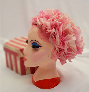 1960s pink floral hat sold by Rackhams. Very Rare. Comes with original box!!!