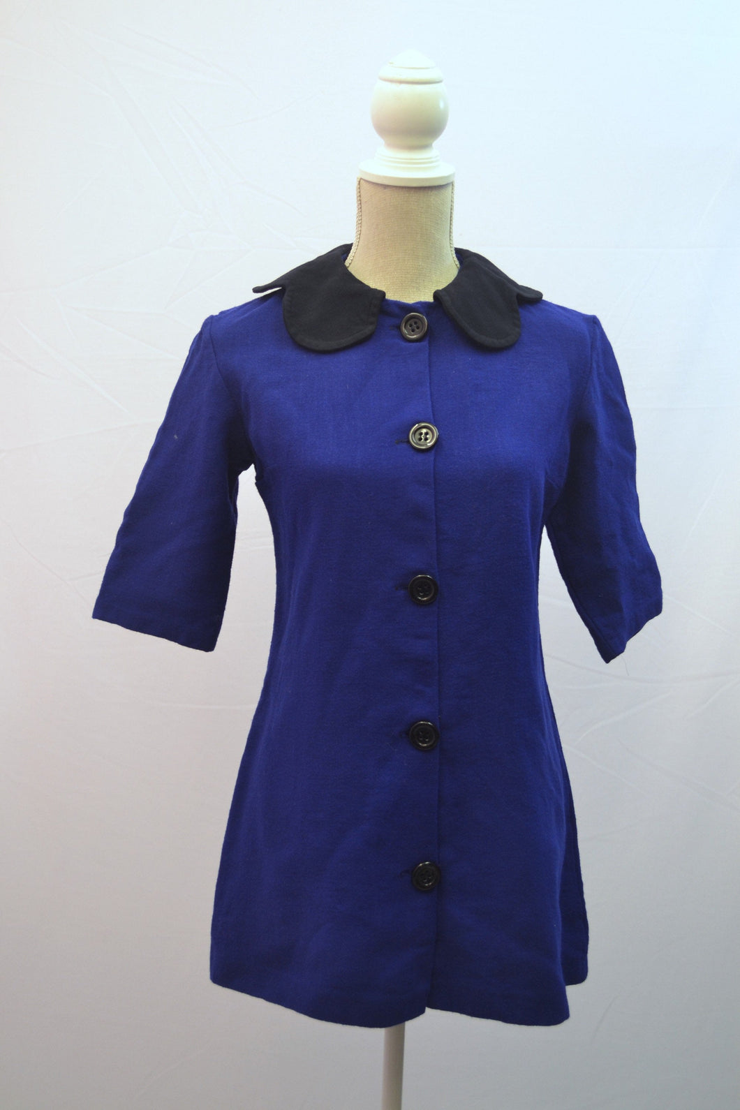 1970s Blue jacket by Model | Scalloped collar ladies blazer | Est UK size 14/16