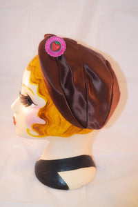 1930s / 1940s Vintage cap | Bonnet hat  | Brown satin cap