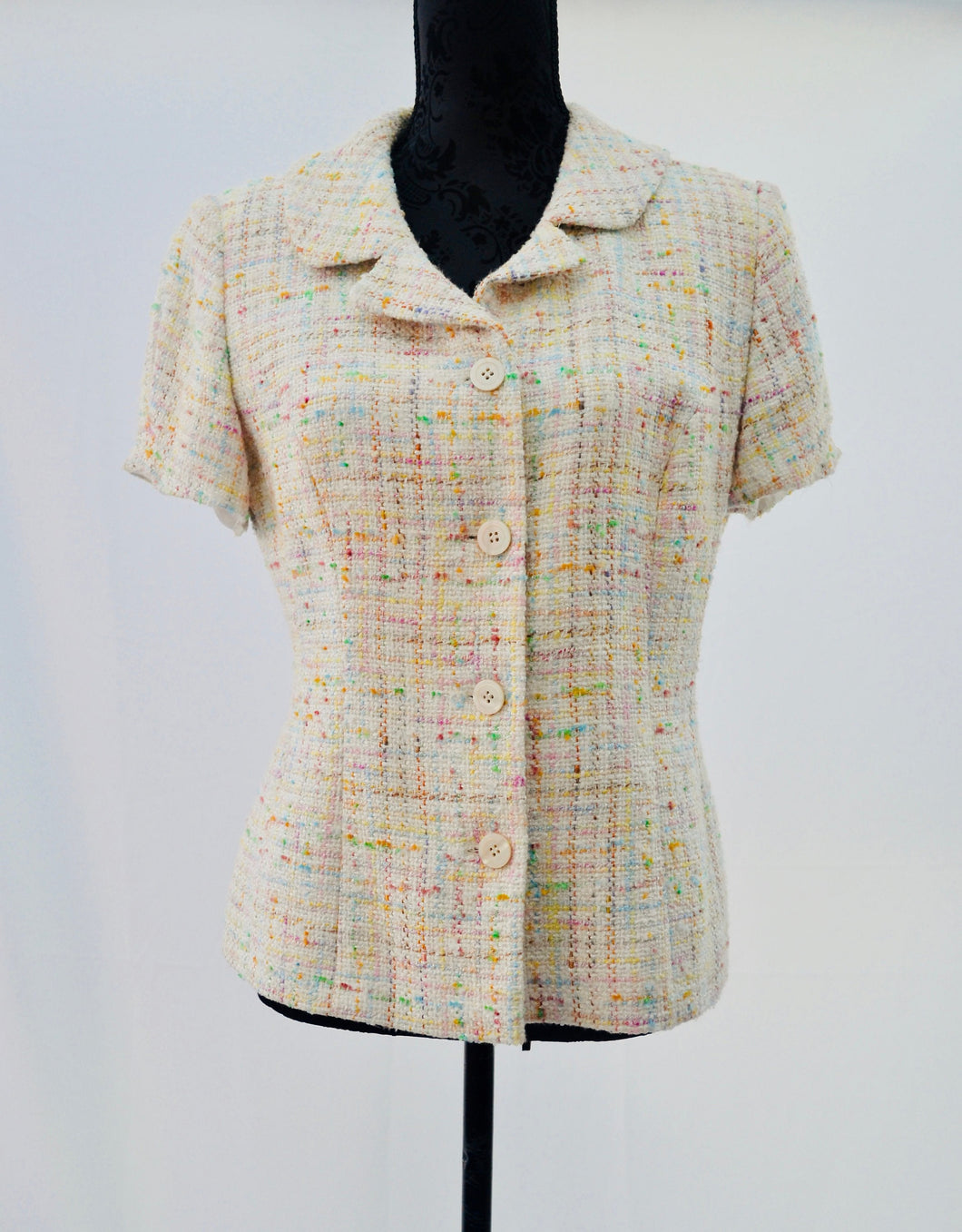 1990s Ladies casual jacket | Ladies vintage Blazer | Short sleeved jacket | Est UK size 12