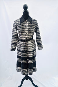 1960s dog tooth monochrome dress, black and white dress with belt, Dress by designer Rodney