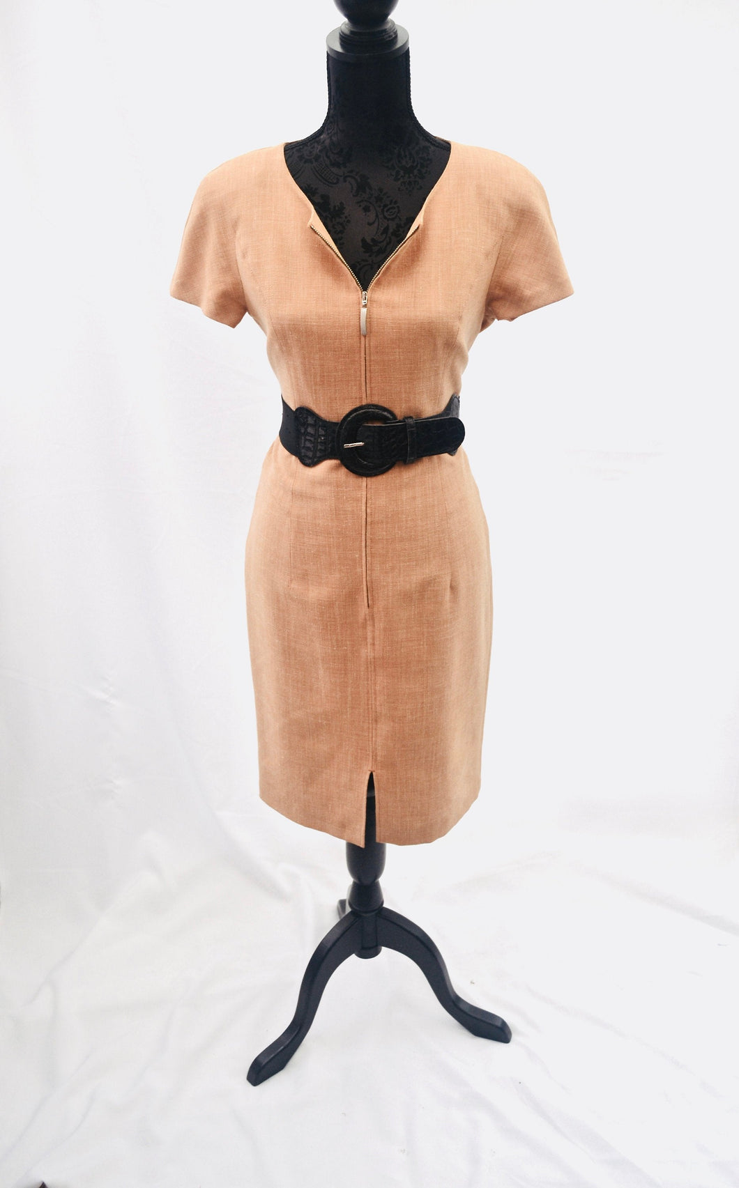 1980s zip up dress, wiggle dress by Madeleine, light peachy brown dress, Est UK size 12