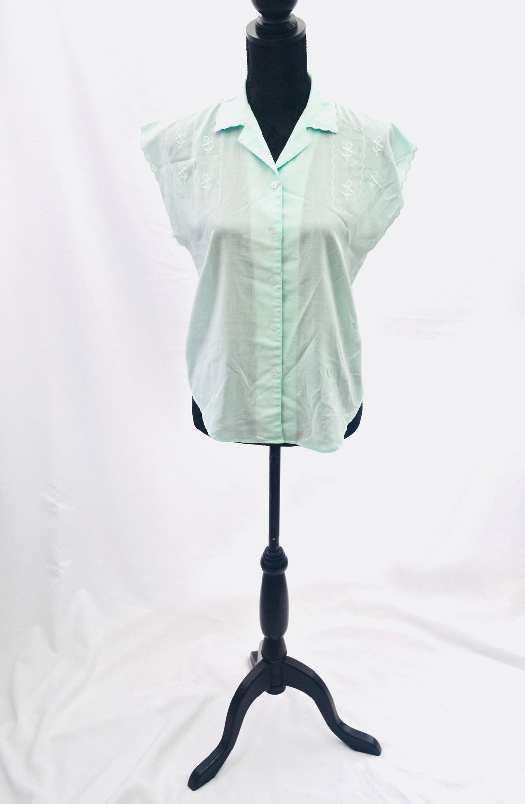 1990s Green blouse | Floral ladies shirt | Short sleeve shirt | Est UK  size 10/12