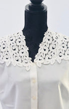 1980s White sleeveless blouse | Ladies shirt with appliqué's | Est UK size 10/12