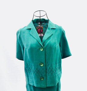 1950s ladies suit in green | Skirt and blazer set |  Short sleeve jacket | Est UK size 6