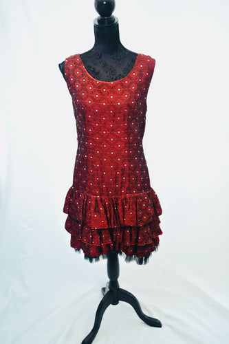 1950s Ra Ra dress | Red and silver dress | Evening dress | Quirky dress | Est UK size 12