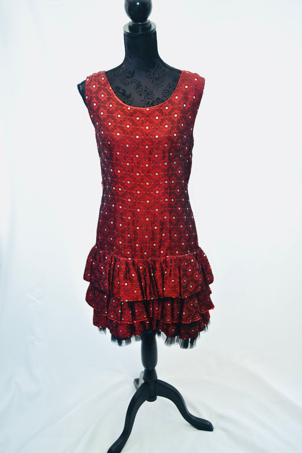 1950s Ra Ra dress in red and silver, 50s party dress, special occasions outfit, Est UK size 12