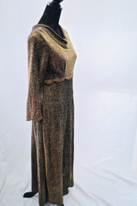 1960s Long cocktail dress | Gold maxi dress | Long sleeve dress | Est UK size 10/12