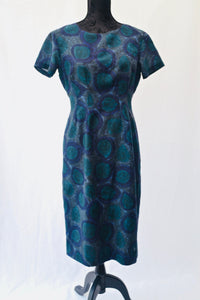 1950s Wiggle dress | Blues and green dress | Short sleeve dress | Est UK size 10/12