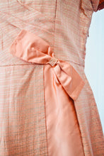 1950s Peach cocktail dress | Dress with bow | Short sleeve dress | Est UK size 14/16