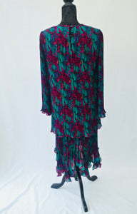 1980s Floral pleated dress | Midi dress | Long sleeve dress | Est UK size 10/12