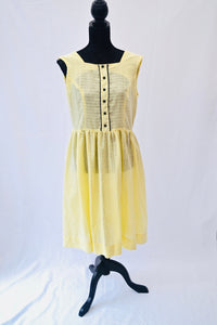 1980s Yellow and black dress | Casual day dress | Sleeveless dress | Est UK size 12