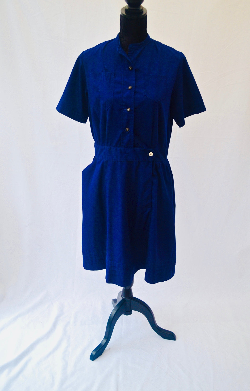 1960s Navy blue dress | Dress with pockets | Land girl style dress | Est UK size 12/14