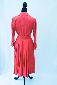 1950s Day dress | Dress with belt | Pink fit and flare dress | Est UK size 10