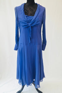 1940s Blue/purple dress | Dress with neck tie | Long sleeve dress | Est UK size 10