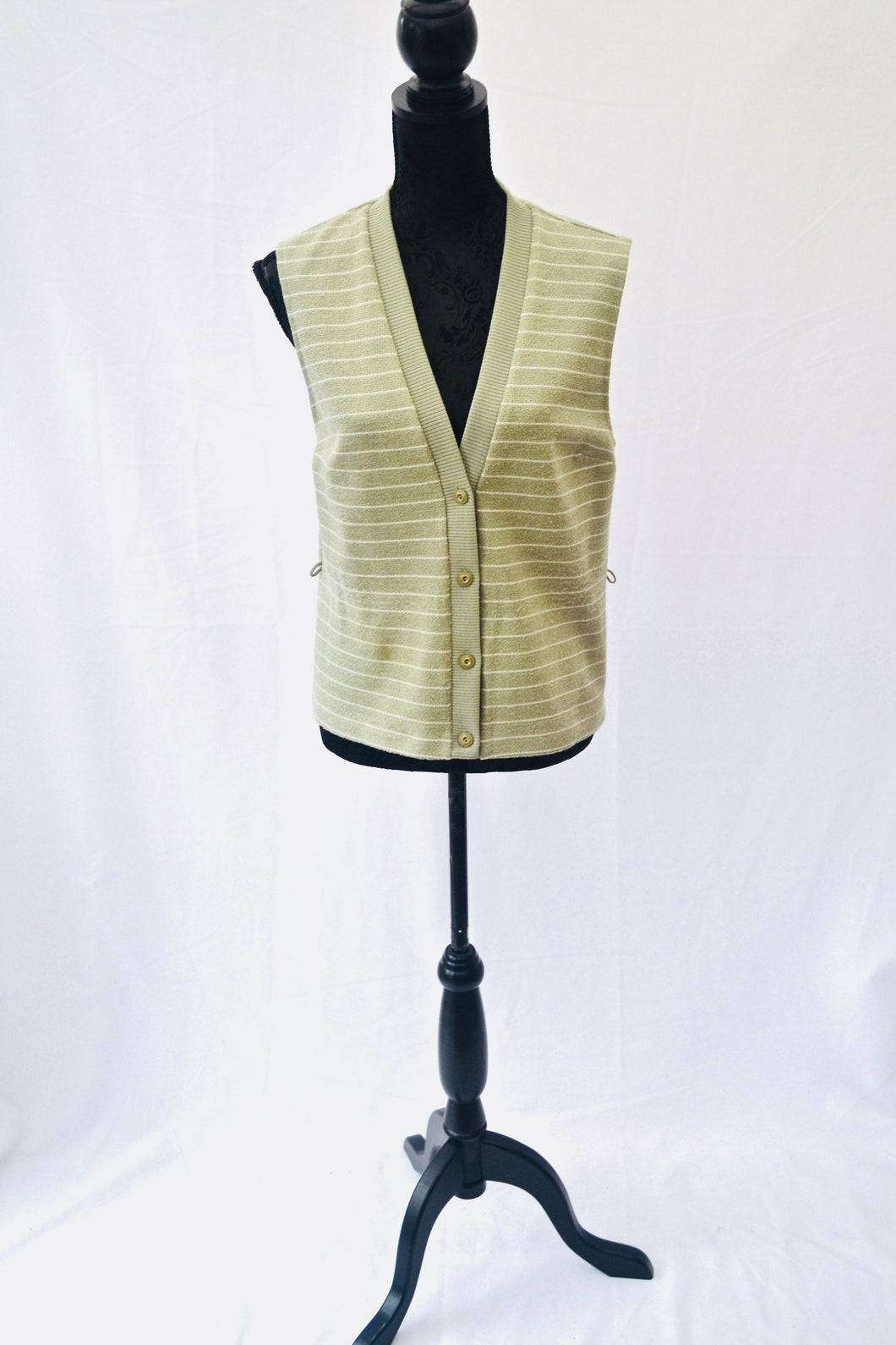1980s Ladies tank top | Sleeveless cardi | Button up vest | Green and white stripes |  Est UK size 12