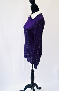 1980s Funky sequinned purple long sleeve top with  detachable collar. Est UK size 10/12/14