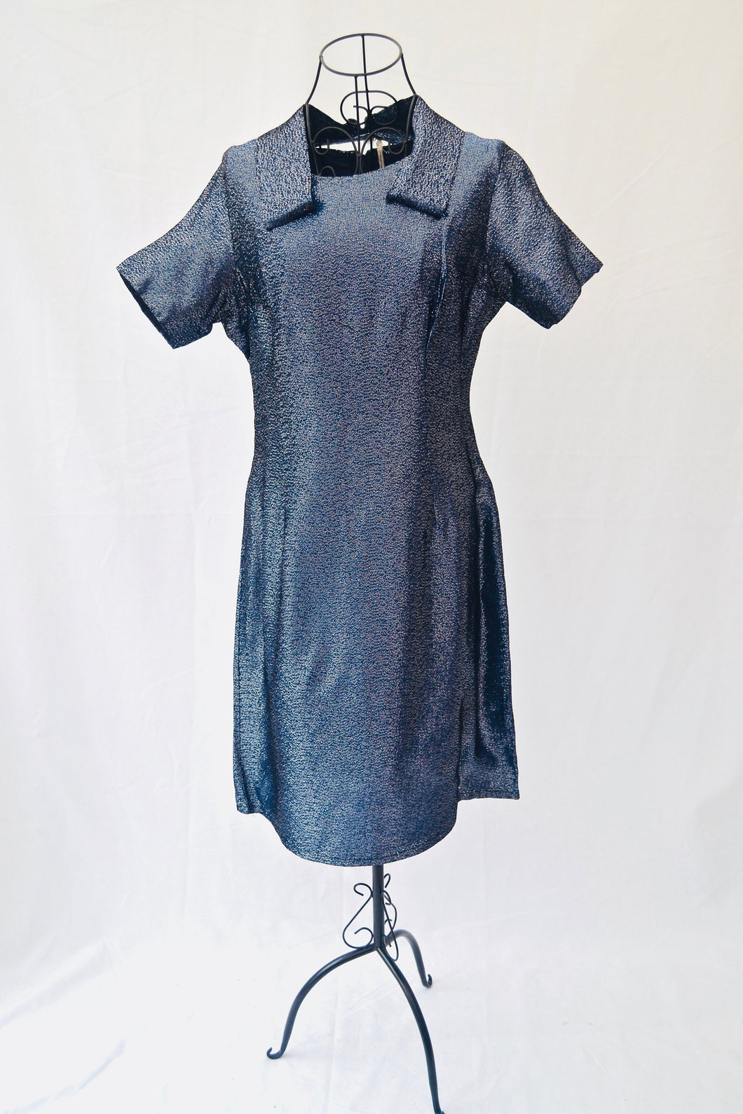 1960s Shift dress | Blue and silver dress | Floating collar |  Est UK size 14