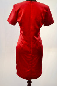 1980s Bright red dress | Petite dress | Dress by Berkertex | Est UK size 10