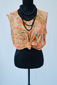 1990s Paisley pattern top | Ladies vest top |  Orange and Brown tank top | Est UK size 14/16