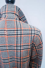 1970s vintage winter checked winter coat with pockets,  Est UK size 12/14
