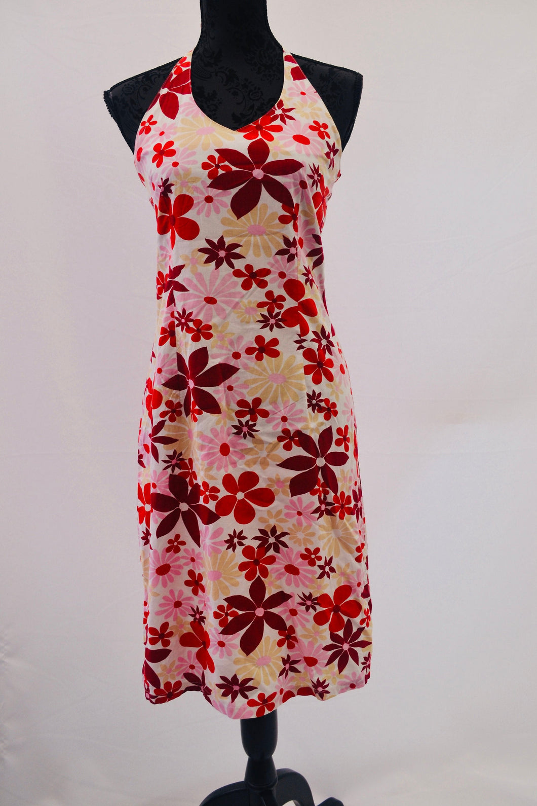 1990s halter neck boho floral dress in red, white and pink, Est UK size 10/12