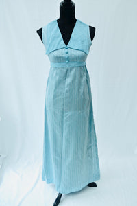 1970s Long blue dress | Over sized collar |  Formal maxi dress |  Est UK size 10