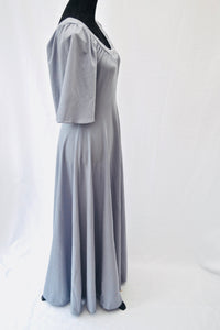 1970s long Grey dress | Beaded maxi dress | Scoop neck dress | Est UK size 10