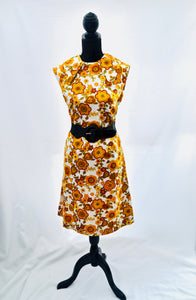 1960s Floral print dress | Orange and brown dress | Sleeveless dress | Est UK size 12/14