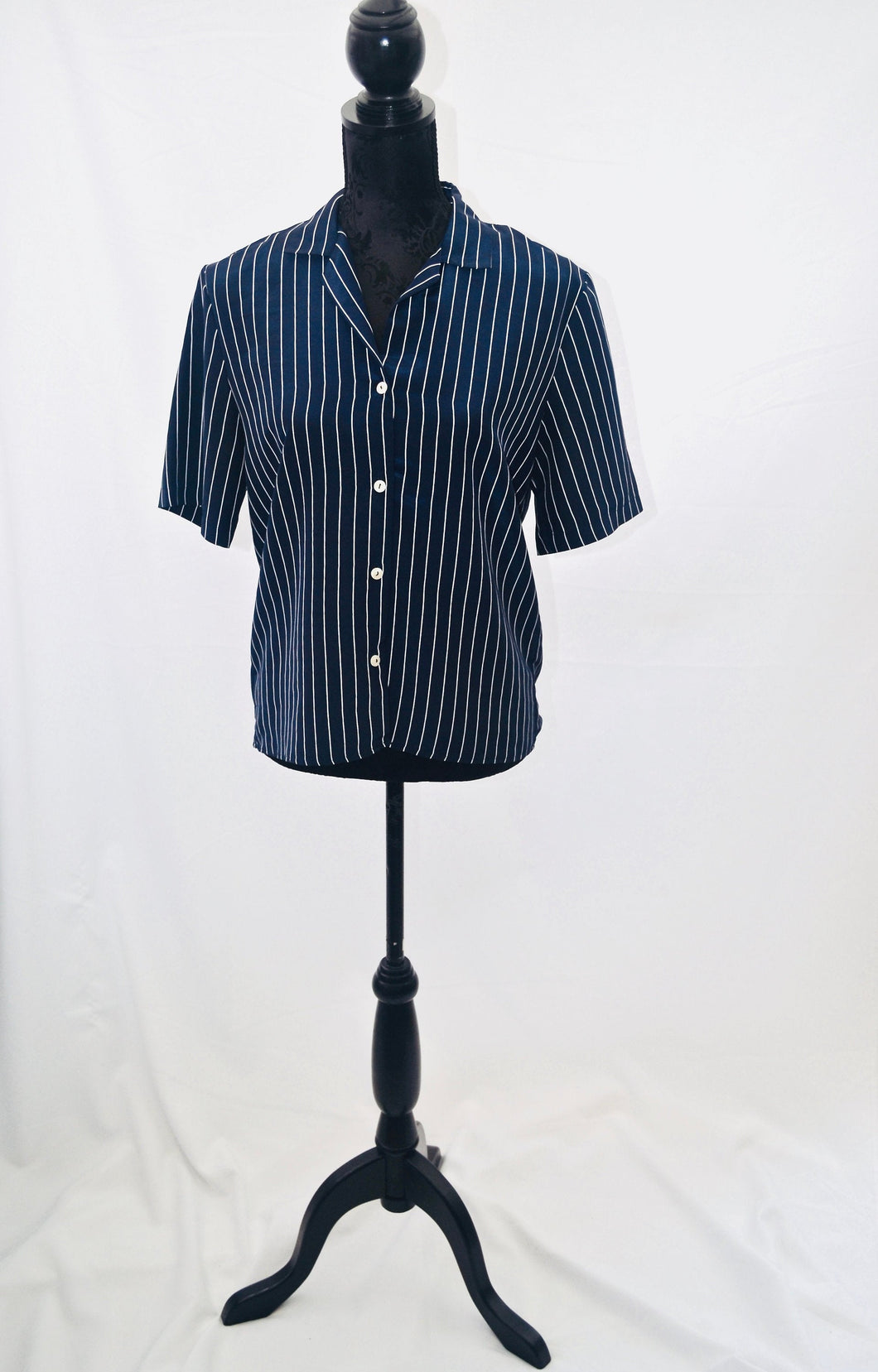 1980s St Micheal blouse | Blue and white striped shirt | Ladies top | Est UK size 8