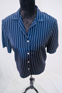 1980s St Micheal blue and white striped blouse, UK vintage size 10, ladies top