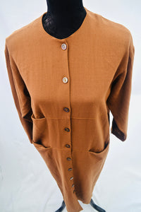 1980s long Brown dress, RARE three POCKETS design, Est UK size 10