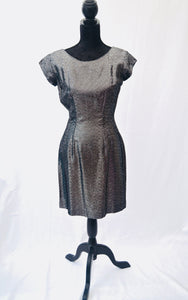 1960s Black and silver dress | Cocktail dress | Short sleeve dress | Est size 8/10