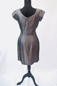 1960s black and silver cocktail dress with fitted waist, Est size 8/10