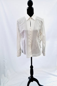 1970s Ribbed ladies blouse | Peep hole top | Ladies white shirt | Est UK size 14