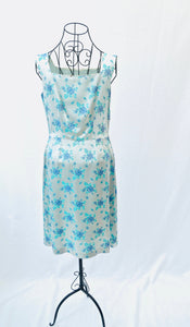 1960s fitted blue floral cocktail dress, Est UK size 10