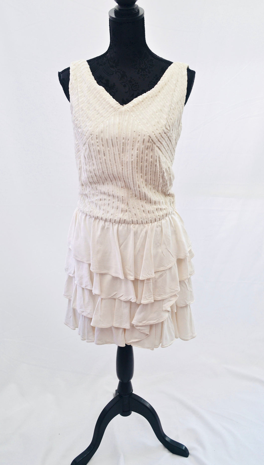 1980s Ra Ra skirt dress, 1920s flapper style dress, White and Silver party dress, Est UK size 12